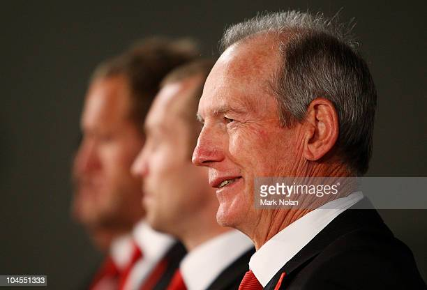 Wayne Bennett of the Dragons smiles in a press conference after the 2010 NRL Grand Final Breakfast at Sydney Convention Exhibition Centre on...