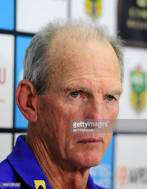 Wayne Bennett the coach of the Knights looks on at the post match press conference at the end of the round 21 NRL match between the South Sydney...