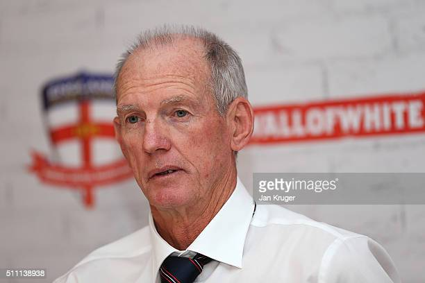 Wayne Bennett the newly appoint England rugby league coach faces the media on February 18 2016 in Manchester England