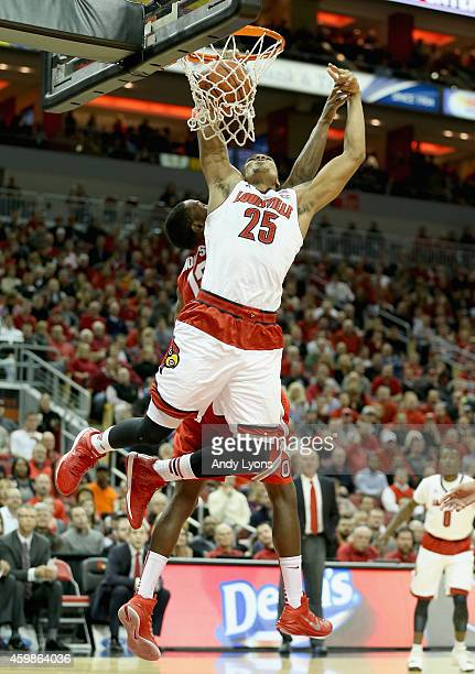 Wayne Blackshear of the Louisville Cardinals dunks the ball during the game against the Ohio State Buckeyes at KFC YUM Center on December 2 2014 in...