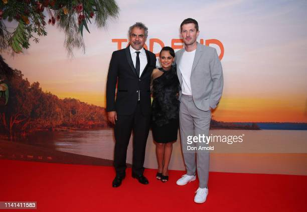Wayne BlairMiranda Tapsell and Gwilym Lee attend the Top End Wedding Sydney Premiere on April 09 2019 in Sydney Australia