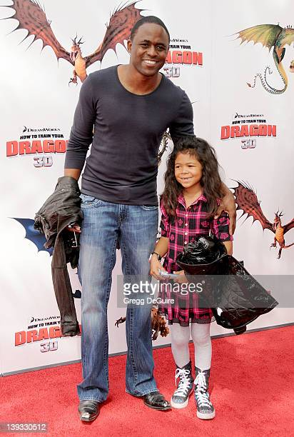 Wayne Brady and daughter Maile arrive sat the Los Angeles Premiere of How To Train Your Dragon at the Gibson Amphitheatre on March 21 2010 in...