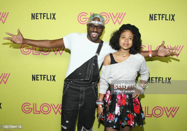 Wayne Brady and Maile Masako Brady attend the FYC GLOW Skate Party at World on Wheels on July 29 2018 in Los Angeles California