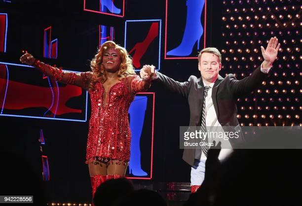 Wayne Brady as Lola and American Idol Season 7 Winner David Cook as Charlie Price celebrate onstage as the hit musical Kinky Boots celebrates it's...