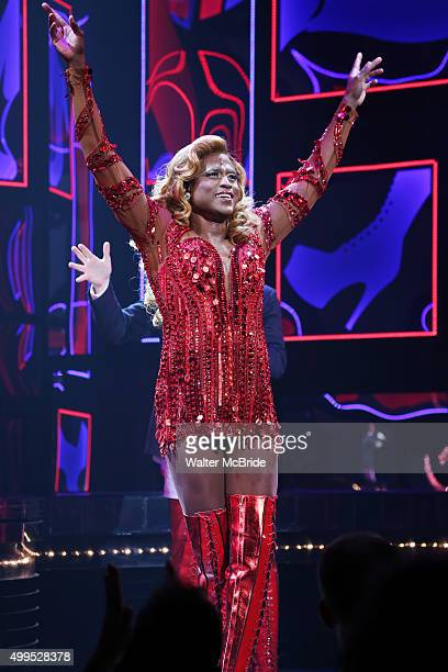 Wayne Brady during his Broadway opening night curtain call bows in 'Kinky Boots' at the Hirschfeld Theatre on December 1 2015 in New York City