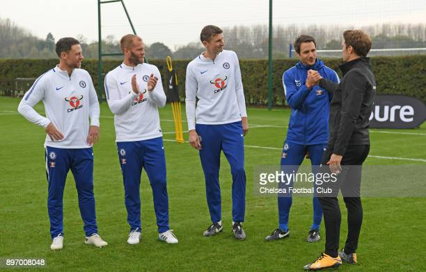Wayne Bridge Eiour Guojohnsen Tore Andre Flo and Carlo Cudicini take part in the Sure Pressure Series with Chelsea players at Chelsea Training Ground...
