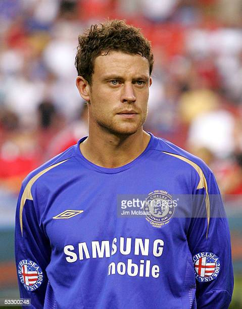 Wayne Bridge of Chelsea FC looks on before playing DC United during their World Series of Football match on July 28 2005 at FedEx Field in Landover...
