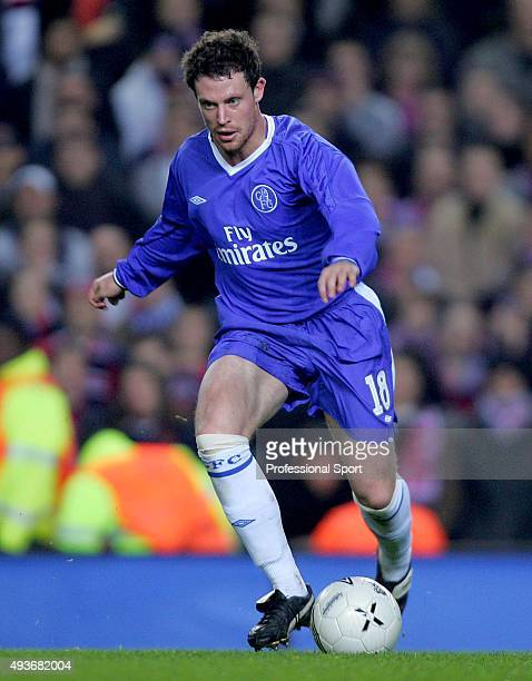 Wayne Bridge of Chelsea in action during the Champions League match between Chelsea and Paris Saint Germain at Stamford Bridge on November 24 2004 in...