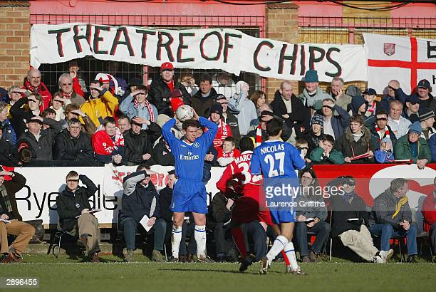Wayne Bridge of Chelsea take a through in during the FA Cup Fourth Round between Scarborough and Chelsea The McCain Stadium on January 24 2004 in...