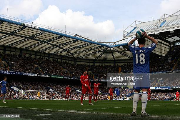 Wayne Bridge of Chelsea taking a throwin during the Barclays Premier League match between Chelsea and Middlesbrough at Stamford Bridge on March 30...