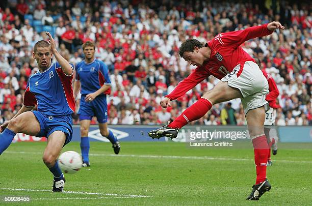 Wayne Bridge of England scores the fifth goal during the FA Summer Tournament match between England and Iceland at The City of Manchester Stadium on...