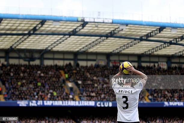 Wayne Bridge of Manchester City takes a throw in during the Barclays Premier League match between Chelsea and Manchester City at Stamford Bridge on...