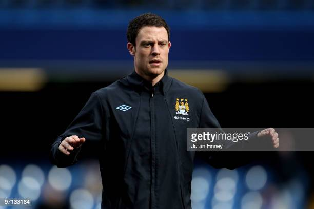 Wayne Bridge of Manchester City warms up prior to the Barclays Premier League match between Chelsea and Manchester City at Stamford Bridge on...