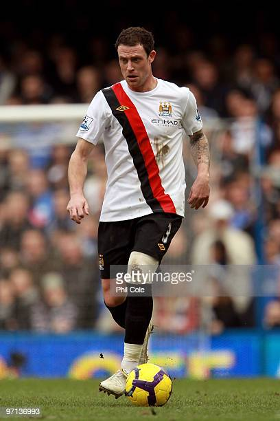 Wayne Bridge of Manchester Cityin action during the Barclays Premier League match between Chelsea and Manchester City at Stamford Bridge on February...