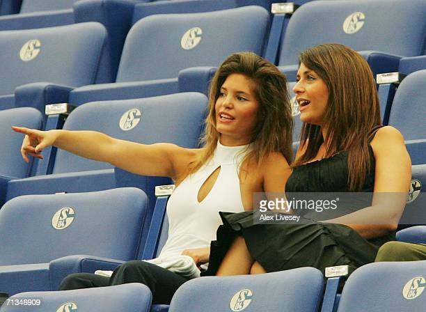 Wayne Bridge's girlfriend Vanessa Perroncel and Joe Cole's girlfriend Carly Zucker wait for the action to start prior to the FIFA World Cup Germany...