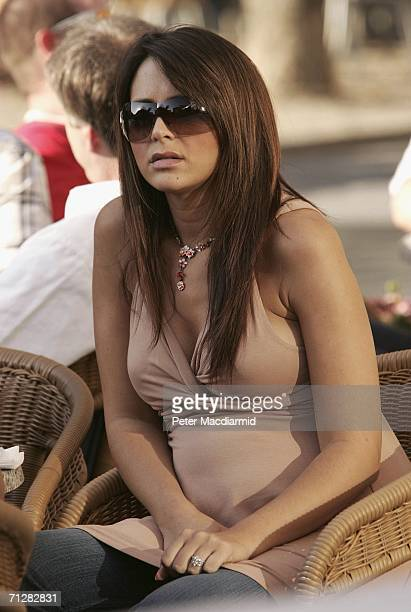 23 23 Wayne Bridge's girlfriend Vanessa Perroncel sits at a cafe on June 23 2006 in BadenBaden Germany England will play Ecuador on 25 June 2006 in...