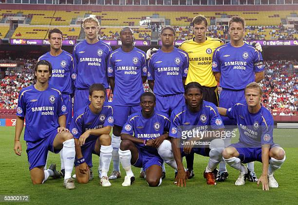 Wayne Bridges, Jiri Jaroski, William Gallas, Glen Johnson, Petr Cech, John Terry, Tiago, Joe Cole, Shaun Wright-Phillips, Didier Drogba, and Damian...