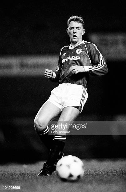 Wayne Bullimore of Manchester United Reserves in action against Manchester City Reserves in a Central League football match held at Old Trafford...