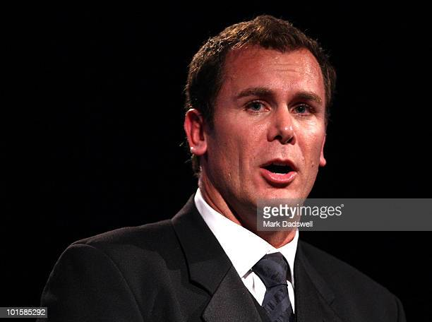 Wayne Carey addresses the audience after he was made an inductee of the AFL Hall of Fame at the 2010 Australian Football Hall of Fame induction...