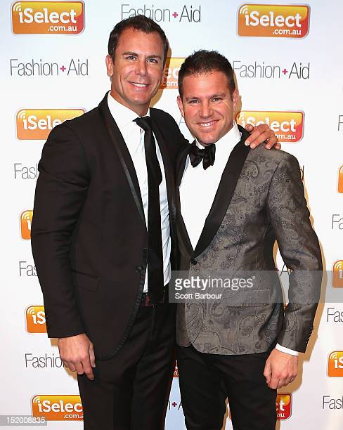 Wayne Carey and Johnny Rombotis arrive at iSelect Fashion Aid at Crown Palladium on September 15 2012 in Melbourne Australia