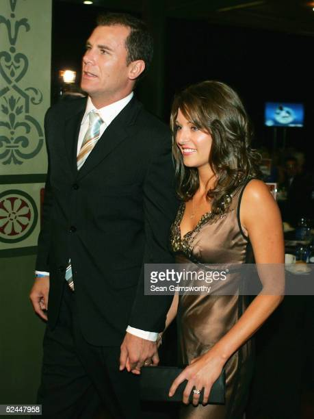 Wayne Carey and wife Sally arrive to the Shinboners to Kangaroos function at the Exhibition Buildings March 18 2005 in Melbourne Australia