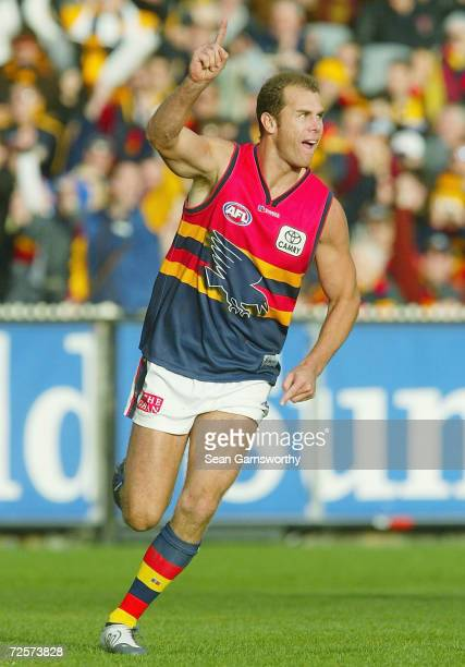 Wayne Carey for Adelaide celebrates after kicking a goal during the round ten AFL match between the Hawthorn Hawks and the Adelaide Crows at the...