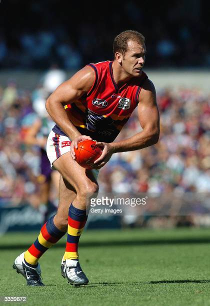 Wayne Carey of the Crows in action during the round three AFL match between the Fremantle Dockers and Adelaide Crows at Subiaco Oval April 11 2004 in...