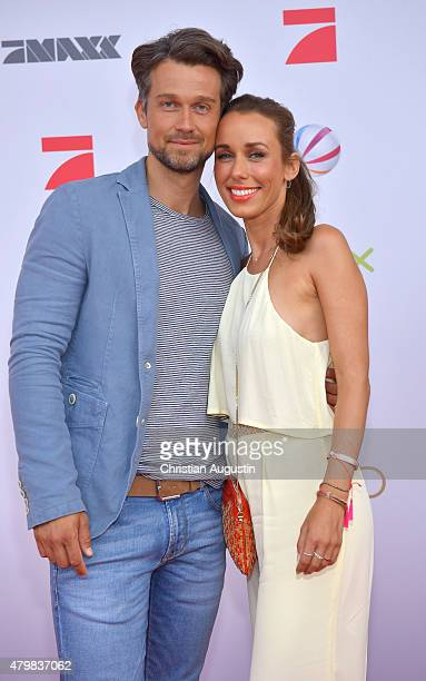 Wayne Carpendale and Annemarie Carpendale attend the program presentation of the television channel ProSiebenSat1 at Hamburg Cruise Centre Altona on...