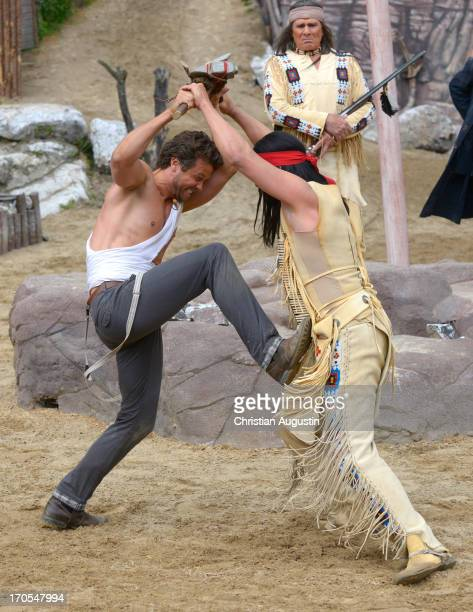 Wayne Carpendale and Jan Sosniok attend the photo rehearsal of 'Winnetou 1' on June 14 2013 in Bad Segeberg Germany