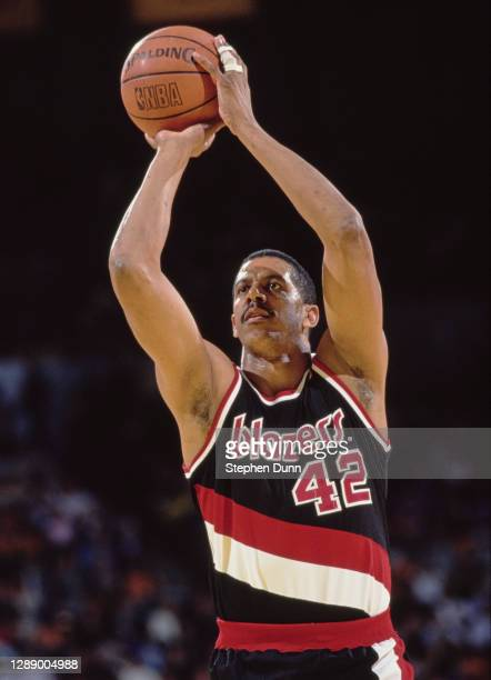 Wayne Cooper, Center and Power Forward for the Portland Trail Blazers prepares to make a free throw attempt during the NBA Pacific Division...