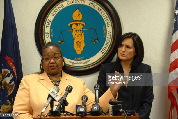 Wayne County Michigan Prosecutor Kim Worthy and Law and Order actor and Joyful Heart Foundation founder and president Mariska Hargitay attend the...