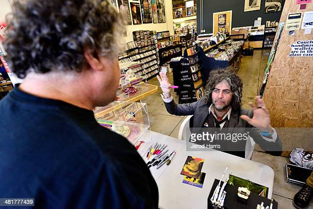 Wayne Coyne lead singer of 'The Flaming Lips' signs Copies of 'The Flaming Lips 1st EP' Limited Edition reissue at Fingerprints on March 31 2014 in...
