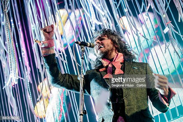 Wayne Coyne of American rock band The Flaming Lips performs on stage on January 30 2017 in Milan Italy