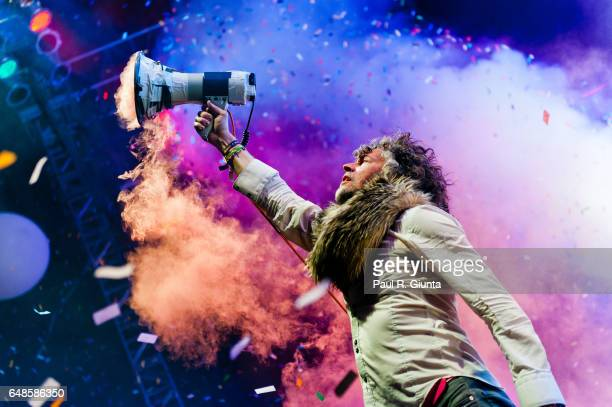 Wayne Coyne of Flaming Lips performs on stage at the Hollywood Forever Cemetery on June 14 2011 in Los Angeles California