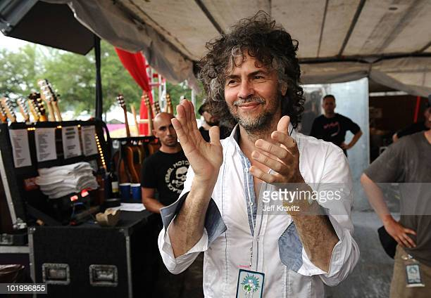 Wayne Coyne of The Flaming Lips looks on as The National perform during Bonnaroo 2010 on June 11 2010 in Manchester Tennessee