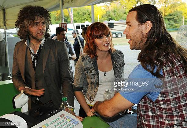 Wayne Coyne of The Flaming Lips MTV's Allison Haislip and Jackasses Chris Ponius during the MTV VH1 CMT LOGO O Music awards at Handy Park on June 27...