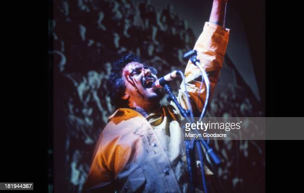 Wayne Coyne of the Flaming Lips performs on stage at Glastonbury 2002
