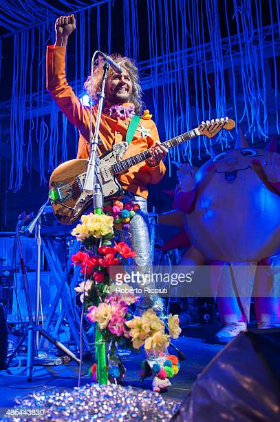 Wayne Coyne of The Flaming Lips performs on stage during Magners Summer Nights at Princes Street Gardens on August 27 2015 in Edinburgh Scotland