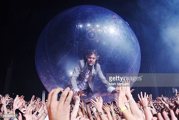 Wayne Coyne of The Flaming Lips performs on stage during the Splendour in the Grass festival at Belongil Fields on July 26 2009 in Byron Bay Australia