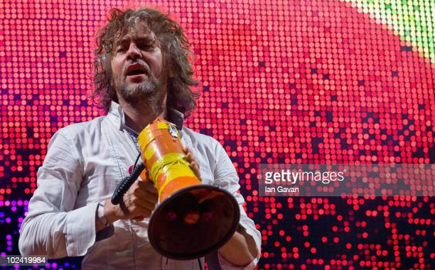 Wayne Coyne of the Flaming Lips performs on the Other Stage during Day 2 of the Glastonbury Festival on June 25 2010 in Glastonbury England This year...