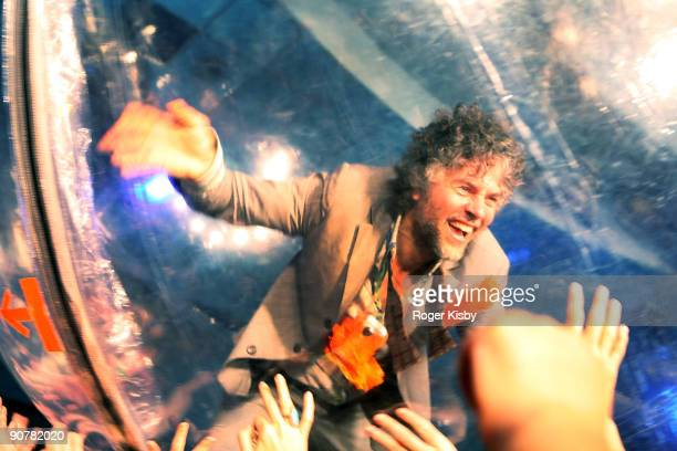Wayne Coyne of The Flaming Lips performs onstage at the ATP New York 2009 festival at the Kutsher's Country Club on September 13, 2009 in Monticello,...