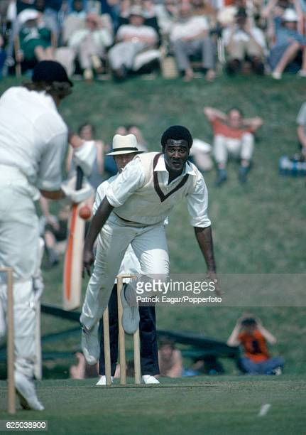 Wayne Daniel bowling for West Indies during the tour match between Lavinia Duchess of Norfolk's XI and the West Indians at Arundel 8th May 1976