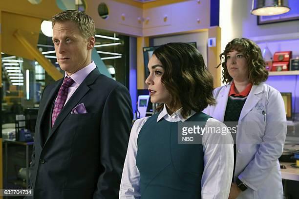 POWERLESS 'Wayne Dream Team' Episode 103 Pictured Alan Tudyk as Van Vanessa Hudgens as Emily Jennie Pierson as Wendy