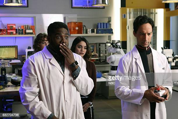 POWERLESS Wayne Dream Team Episode 103 Pictured Jennie Pierson as Wendy ROn Funches as Ron Vanessa Hudgens as EmilyDanny Pudi as Teddy