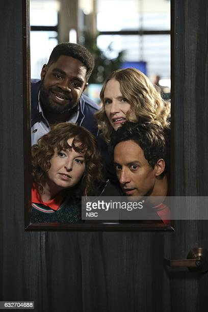 POWERLESS Wayne Dream Team Episode 103 Pictured Ron Funches as Ron Christina Kirk as Jackie Danny Pudi as Teddy Jennei Pierson as Wendy