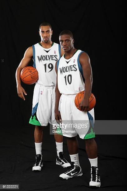Wayne Ellington and Jonny Flynn of the Minnesota Timberwolves pose for a portrait during 2009 NBA Media Day on September 28 2008 at Target Center in...