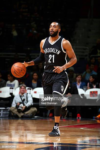 Wayne Ellington of the Brooklyn Nets handles the ball during the game against the Washington Wizards on April 6 2016 at Verizon Center in Washington...
