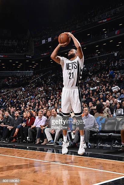 Wayne Ellington of the Brooklyn Nets shoots the ball against the Portland Trail Blazers on January 15 2015 at Barclays Center in Brooklyn New York...