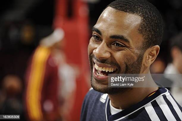Wayne Ellington of the Cleveland Cavaliers smiles during warm ups prior to the game against the Toronto Raptors at The Quicken Loans Arena on...