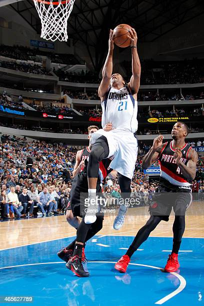 Wayne Ellington of the Dallas Mavericks drives to the basket against the Portland Trail Blazers on January 18 2014 at the American Airlines Center in...